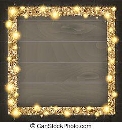 wooden keret, derékszögben, háttér, arany