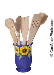 kitchen accessories - wooden kitchen accessories isolated on...