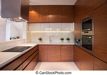 Wooden kitchen cabinet in luxury elegant interior
