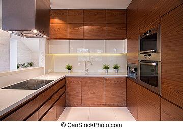Wooden kitchen cabinet in luxury elegant interior