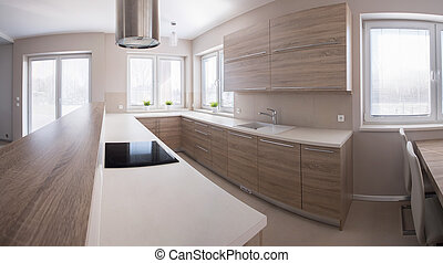 Wooden kitchen cabinet in bright luxury interior