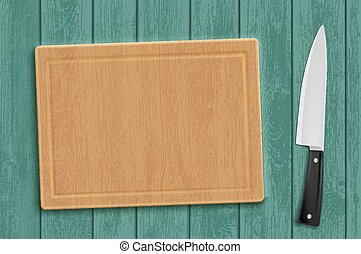 Wooden kitchen cutting board with a knife