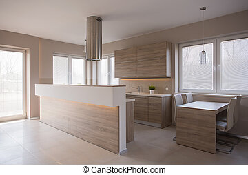 Wooden kitchen in luxury house - Picture of wooden kitchen...