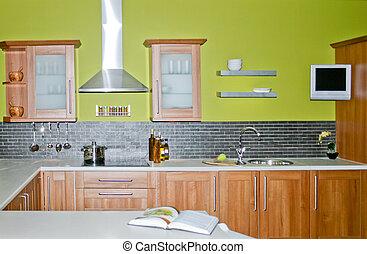 Wooden kitchen - Modern wooden kitchen with green painted ...