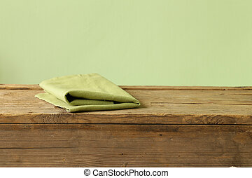 wooden kitchen table background with napkin