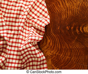 wooden kitchen table with napkin for background