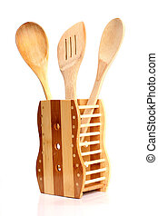 Wooden kitchen tools.