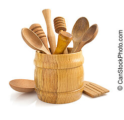 wooden kitchen utensil on white