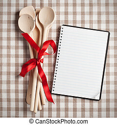 kitchen utensil with blank recipe book - wooden kitchen ...