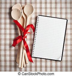 kitchen utensil with blank recipe book - wooden kitchen ...