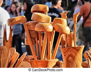 wooden kitchen utensils crafted