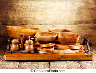 Wooden kitchen utensils rustic wooden background