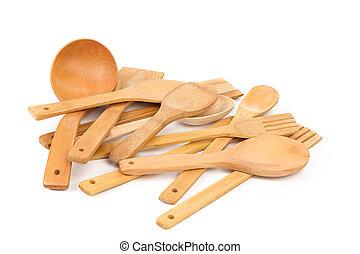 Wooden kitchen utensils set.