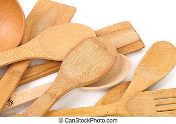 Wooden kitchen utensils.