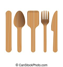 Wooden Kitchen Utensils vector