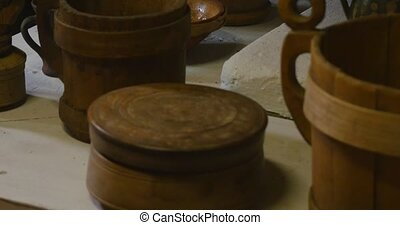 Wooden kitchenware. ethnic products on white
