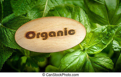 Wooden label with organic text