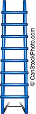 Wooden ladder in blue design with shadow leading up on white...