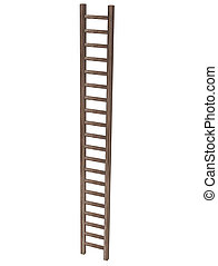 Wooden ladder on white background.3D Rendering,Illustration