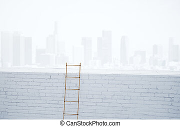 Wooden ladder on white brick wall at city background