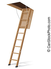 wooden ladder to the attic illustration