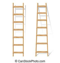 Vector illustration of a wooden ladder