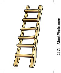 wooden ladder - vector illustration of ladder, working...