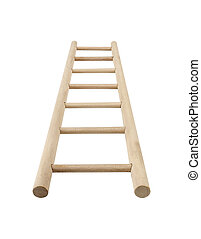 Wooden ladder, vertical isolated stepladder, detailed...