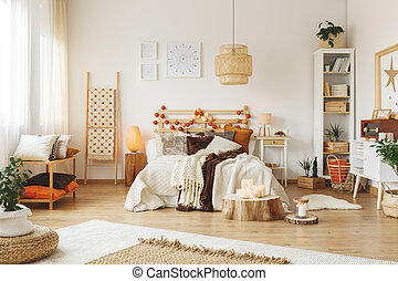 Wooden lampshade in bedroom