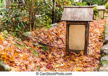 Wooden lantern in Japanese temple