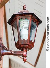 Wooden lantern with modern blub