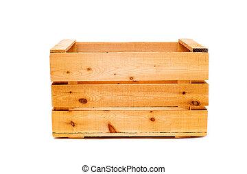 wooden large box on white isolated background