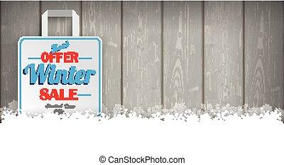 Wooden Laths Winter Sale Shopping Bag