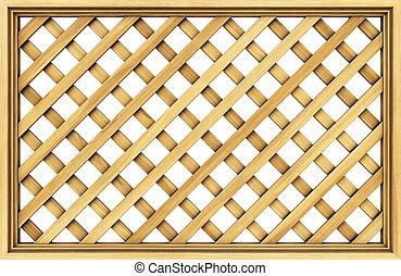 lattice - wooden lattice. Isolated on white.