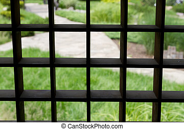 wooden lattice on the window