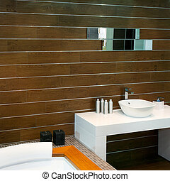 Wooden lavatory - Bathroom with wooden walls and modern ...