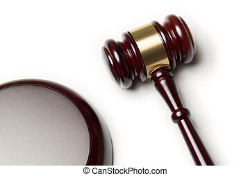 wooden law gavel isolaterd on white