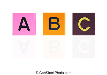 wooden letter blocks ABC with reflection