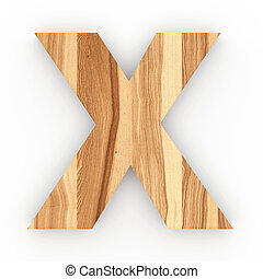 Wooden letter X isolated on white background