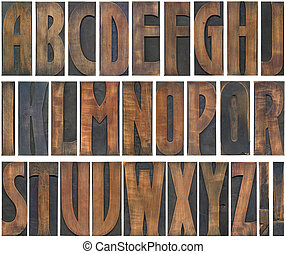 Wooden Letters Cutout - Old Woodtype Capital Alphabet...