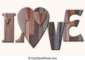 wooden letters love with hearts on white background