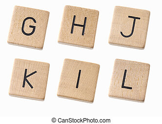 wooden letters on a white background