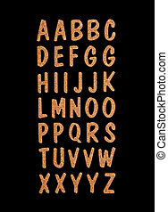 wooden letters on black background