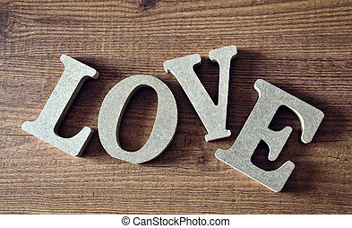 wooden letters with word love