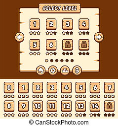 Wooden level selection game asset