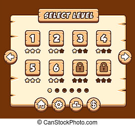 Wooden level selection panel for game