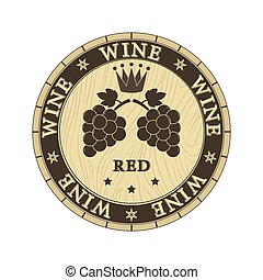 Wooden lid cap with the inscription red wine, flat design