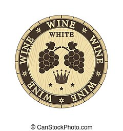 Wooden lid cap with white wine label, flat design