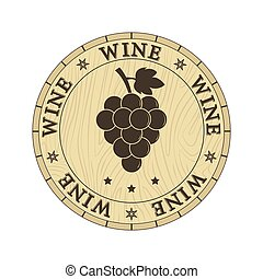 Wooden lid with wine inscription, flat design