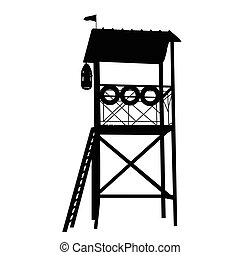 Wooden lifeguard tower silhouette on white background, ...
